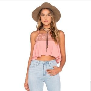For Love and Lemons Pink Lace crop top